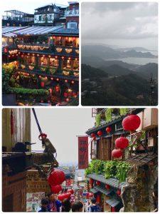 海悅樓景觀望出去,可以看見阿妹茶樓、九份老街周圍山海景觀